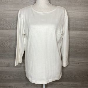 White Wide Ribbed Top by Classic Elements Medium